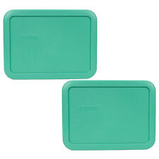Pyrex 7210-PC 2 Pack Rectangular 3 Cup Green Replacement Lid Cover Made in USA