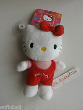 PLUSH HELLO KITTY DUNGAREES RED 6 5/16in NEW WITH SUCTION CUP JEMINI