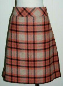 L.L. Bean Wool Blend Plaid Favorite Fit Lined Slight A-Line Skirt sz 20