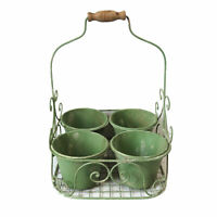Unique Shabby Chic Plant Pots Encased in a Metal Basket with Wooden Handle