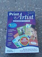 Print Artist Platinum Edition Version 24 NEW Open box Windows XP, Vista 7 only