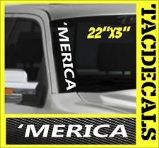 0003  'MERICA    VERTICAL Windshield Vinyl Side Decal Sticker Car Truck