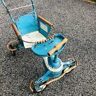 Vintage 1940s TAYLOR TOT blue/White Metal Wood Baby Stroller Walker Fenders