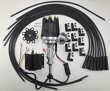 FORD Y Block 256-272-292-312 BLACK Small HEI Distributor,Coil + Spark Plug Wires
