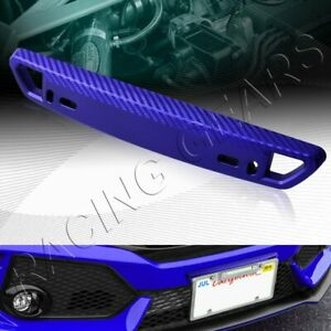 UNIVERSAL CARBON STYLE BLUE FRONT BUMPER LICENSE PLATE MOUNT BRACKET RELOCATOR