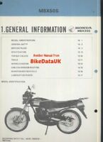 Honda MBX 50 S AC05 (83-86) Genuine Supplementary Manual Addendum MBX50S CJ98