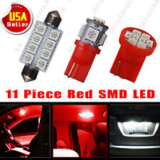 11PCS Pure Red LED T10 & 42mm 578 Dome Map + Tag lamp Interior light package Kit