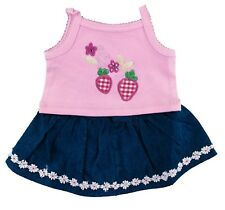 "Strawberry, Denim Skirt Outfit Fits Build A Bear Workshop 12"" - 16"" Teddy Bears"