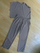 ZARA ladies brown 2 piece short sleeve top & trousers co ord set uk 10 - 12