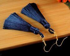 Navy Blue Bohemian Polyester Tassel Dangle Earrings with Golden Hooks - #484