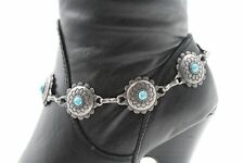 Women Dark Silver Metal Chain Boot Bracelet Western High Shoe Charm Flowers Blue