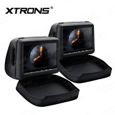 "Dual 10.1"" Black Car Headrest Monitors w/Slot Load DVD Player/USB/HDMI +Games"