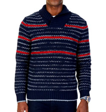 Nautica Men's Stripe Shawl-Collar Sweater, True Navy, Large