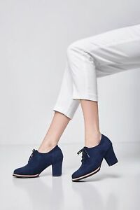 Women's Lace Up Ankle Boots Autumn Winter Block High Heels Casual Low Top Shoes
