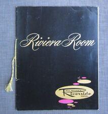 1962 Bill Miller's Riverside Hotel Riviera Room Menu,