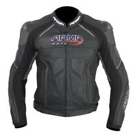 ARMR Moto Harada R Leather Motorcycle Motorbike Sports Jacket - Black
