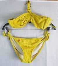 Ralph Lauren Womens M Yellow Halter Bikini Ruffle 2-Piece Swimsuit