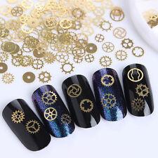 Elegante 3D Manicura Arte en Uñas Rueda de época dorada Vapor Punk Puntas Decoración para uñas