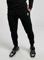 GYM KING Mens Fleece Slim Joggers Tracksuit Designer Jogging Bottoms Basis Black