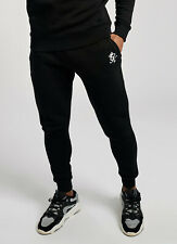 GYM KING Mens Fleece Slim Joggers Tracksuit Designer Jogging Bottoms Basis Black