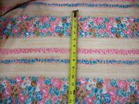 Vtg Crantex Fabrics Cranston Floral Striped Pink Turquoise Batiste Cotton 3+ Yds