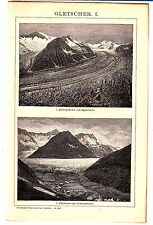 ca 1890 GLACIERS STRUCTURE Antique Engraving Lithograph Print