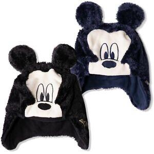 Disney Mickey Mouse Baby babies Boys Sherpa Plush Warm Winter Trapper Hat 0-2y