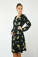 New Womens Ex Brand Black & Yellow Floral Print Satin Wrap Over Dress Size 6-8