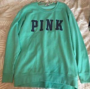 Victoria's Secret Pink Crew Sweatshirt size Small Green With Blue Print