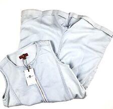 7 For All Mankind Girls Shorts Romper Sz Medium Bleached Denim Zipper Front
