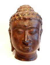 TETE DE BOUDDHA SHAKYAMUNI - SUKHOTHAI 1400 AD- THAILAND SIAM BRONZE BUDDHA HEAD