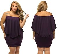 Ladies Purple Lagenlook Plus Multiple Dressing Layered Mini Dress 16 18 20 22