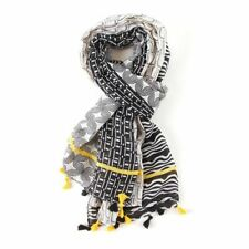 MUSTARD , WHITE & BLACK TASSEL SCARF  WITH A BLOCK PATCH DESIGN SUPERB QUALITY