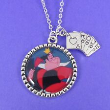 QUEEN OF HEARTS CHARM NECKLACE disney villains alice in wonderland red cards
