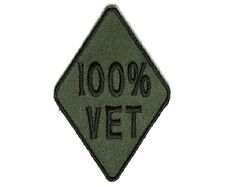 "(G37) Green 100% VET 3"" x 2"" iron on patch (4592) Biker Vest Cap Hat Veteran"