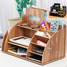 Wood Desk Box Organizer Desktop Storage Rack Brush Home Office Pencil Holder Usa