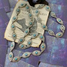 Art Deco Sterling Silver Turquoise Necklace And Bracelet Set