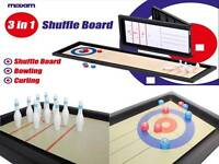 Tisch 3 in 1 Sport- Shuffle Brettspiel Mini Bowling & Eisstockschießen Neu