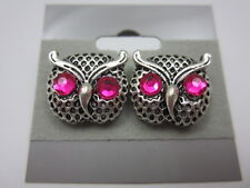 Pink Crystal Owl Earrings