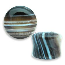 "7/8"" Pair Black Tibetan Agate Semi Precious Stone Gauged Earring Plugs jewelry"