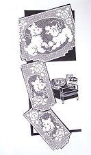 542 Vintage Design FILET TERRIERS Set Pattern to Crochet (Reproduction)