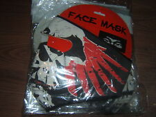 Neoprene Cold Weather Full Face Mask/ Multi-colored Skull / Red Feathers design
