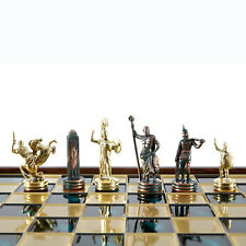 Manopoulos Greek Mythology Chess Set - Brass&Green - Wooden case Green Board