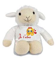 Peluche mouton je t'aime coeur cadeau personnalisable avec prénom /texte réf 103