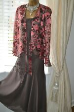 ~ CHESCA ~ Brown Silk Applique Dress & Jacket Size 22 20 Mother of the Bride
