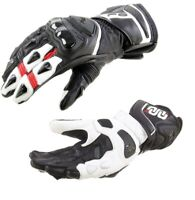 Guanti pelle moto Oj Shout nero bianco rosso black white Yamaha leather Gloves