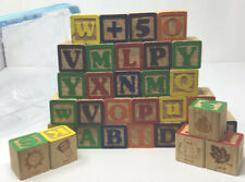 32 ABC Wooden Baby Building Blocks Alphabet Pictures Numbers Words Learning Toy