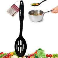 Solid Slotted Spoon Nylon Black Non Stick Cooking Serving Kitchen Heat Resistant