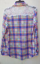 R N B   SIZE LARGE  LONG SLEEVE, BUTTON DOWN WITH CROCHET BACK