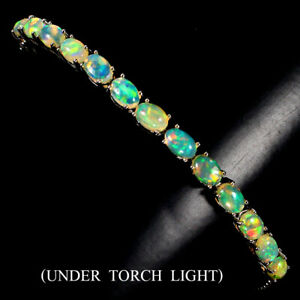 Unheated Oval Fire Opal Rainbow Full Flash 925 Sterling Silver Bracelet 9 Ins